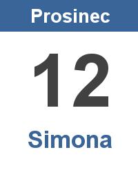 Svátek 12.12. - Simona Jméno