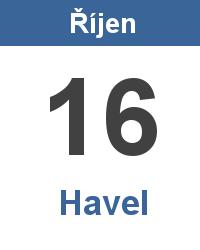 Svátek 16.10. - Havel Jméno