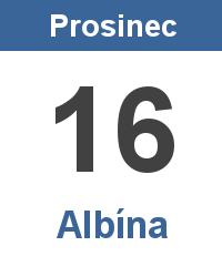 Svátek 16.12. - Albína Jméno