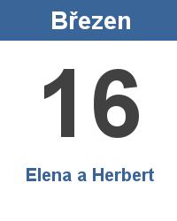 Svátek 16.3. - Elena a Herbert Jméno