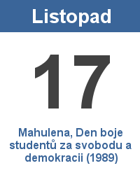 Svátek 17.11. - Mahulena, Den boje studentů za svobodu a demokracii (1989) Jméno