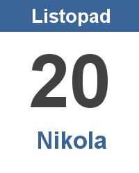 Svátek 20.11. - Nikola Jméno