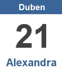 Svátek 21.4. - Alexandra Jméno