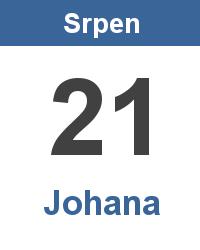 Svátek 21.8. - Johana Jméno