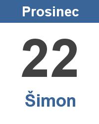 Svátek 22.12. - Šimon Jméno