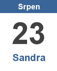 Svátek 23.8. - Sandra Jméno