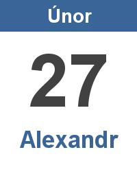 Svátek 27.2. - Alexandr Jméno