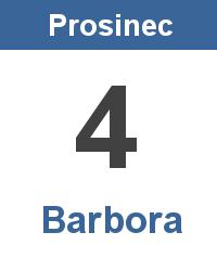 Svátek 4.12. - Barbora Jméno