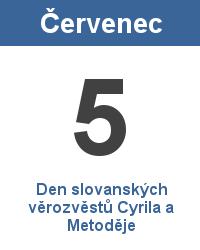Svátek 5.7. - Den slovanských věrozvěstů Cyrila a Metoděje Jméno