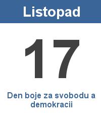 Státní svátek 17.11. - Den boje za svobodu a demokracii